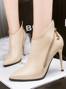 Apricot Point Toe Stiletto Fashion Ankle Boots