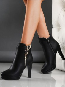 Black Round Toe Chunky Buckle Metal pendant Fashion Ankle Boots