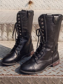 Black Round Toe Lace-up Fashion Ankle Martin Boots