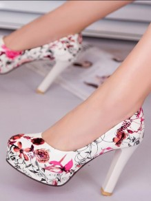 White Round Toe Print Print Chunky Fashion High-Heeled Shoes