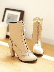 Beige Round Toe Chunky Cross Strap Fashion Ankle Boots