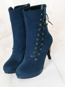 Blue Round Toe Stiletto Rivet Cross Strap Fashion Mid-Calf Boots