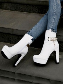 White Round Toe Chunky Chain Metal Decoration Fashion Ankle Boots