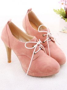 Pink Round Toe Stiletto Fashion Ankle Boots