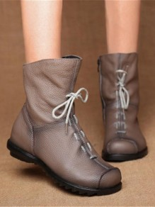 Brown Round Toe Bow Fashion Ankle Boots
