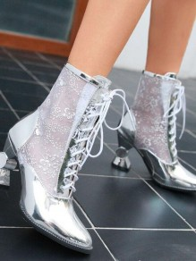 Silver Point Toe Chunky Sequin Fashion Ankle Boots