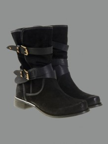 Black Round Toe Fashion Mid-Calf Boots