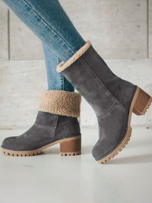 Grey Round Toe Chunky Fashion Mid-Calf Boots