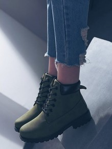 Green Round Toe Lace-up Casual Ankle Shoes