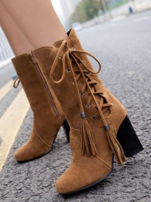 Brown Round Toe Lace-up Zipper Fashion Boots