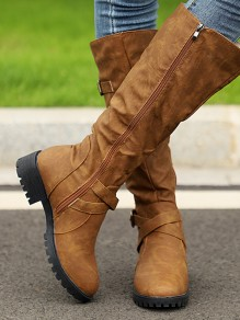 Brown Round Toe Sequin Fashion Knee-High Boots