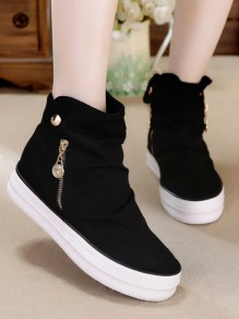Black Round Toe Zipper Casual Ankle Shoes