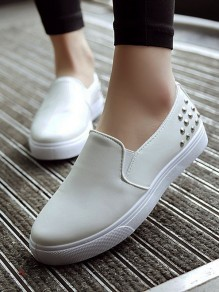 White Round Toe Flat Rivet Fashion Ankle Shoes