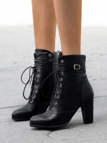 Black Point Toe Lace-up Fashion Ankle Boots
