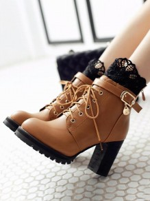 Brown Round Toe Chunky Rhinestone Metal Decoration Lace Fashion Ankle Boots