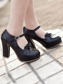 Black Round Toe Chunky Bow Buckle Fashion High-Heeled Shoes