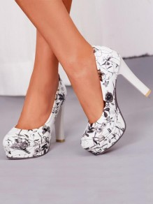 White-Grey Round Toe Chunky Print Fashion High-Heeled Shoes