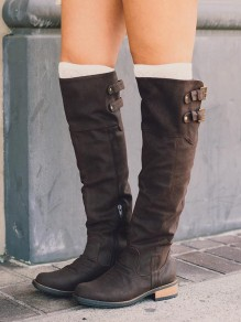 Coffee Round Toe Sequin Fashion Knee-High Boots