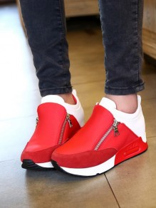 Red Round Toe Fashion Ankle Shoes