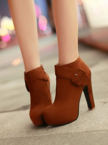 Brown Round Toe Chunky Buckle Fashion Ankle Boots