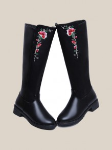 Black Round Toe Chunky Embroidery Fashion Knee-High Boots