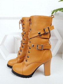 Yellow Round Toe Chunky Rivet Buckle Fashion Mid-Calf Boots