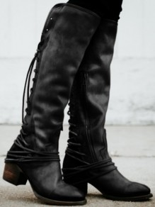 Black Round Toe Lace-up Chunky Fashion Knee-High Boots