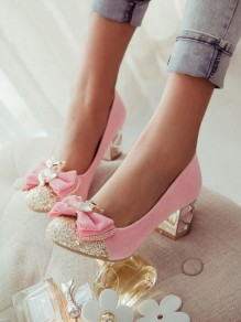 Pink Round Toe Bow Sweet High-Heeled Shoes