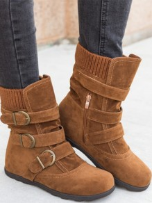 Brown Round Toe Fashion Ankle Boots