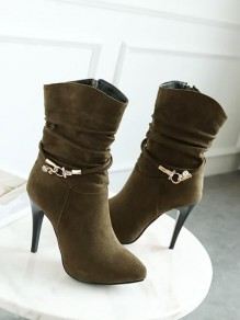 Army Green Point Toe Stiletto Sequin Fashion Ankle Boots