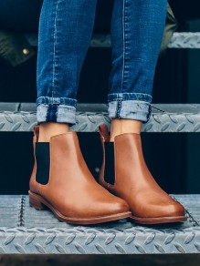 Brown Round Toe Flat Fashion Ankle Boots