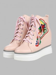 Pink Round Toe Embroidery Fashion Ankle Shoes