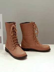 Brown Round Toe Lace-up Fashion Ankle Boots