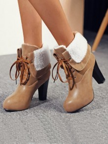 Brown Round Toe Chunky Cross Strap Fashion Ankle Boots