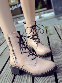 Pink Round Toe Lace-up Chunky Fashion Boots