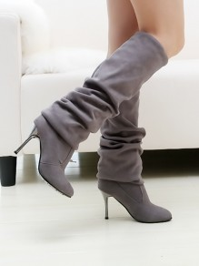 Grey Round Toe Stiletto Fashion Over-The-Knee Boots