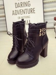 Black Round Toe Chunky Double Buckle Fashion Ankle Boots