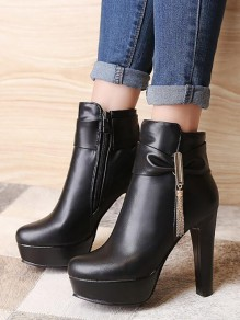 Black Round Toe Chunky Sequin Bow Fashion Ankle Boots