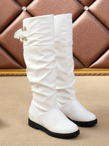 White Round Toe Fashion Ankle Boots
