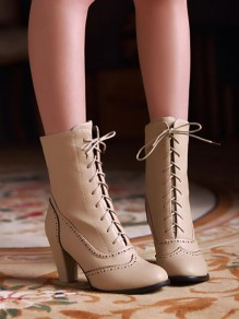 Beige Round Toe Chunky Fashion Ankle Boots