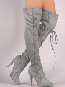 Grey Point Toe Stiletto Fashion Over-The-Knee Boots