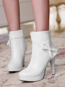 White Round Toe Chunky Bow Fashion Ankle Boots