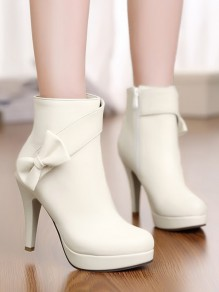 Beige Round Toe Chunky Bow Fashion Ankle Boots