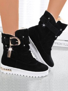 Black Round Toe Belt Buckle Rhinestone Fashion Boots