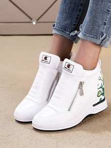 White Round Toe Embroidery Fashion Ankle Shoes
