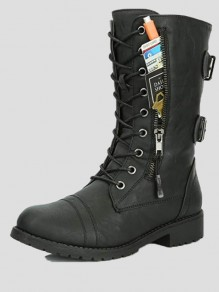 Black Round Toe Zipper Fashion Mid-Calf Boots