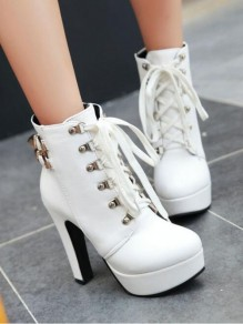 White Round Toe Chunky Metal Decoration Buckle Cross Strap Fashion Ankle Boots