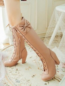 Apricot Round Toe Chunky Bow Cross Strap Fashion Knee-High Boots