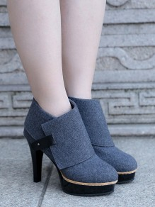 Blue Round Toe Stiletto Fashion Ankle Boots