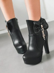 Black Round Toe Chunky Sequin Rhinestone Bow Fashion Ankle Boots